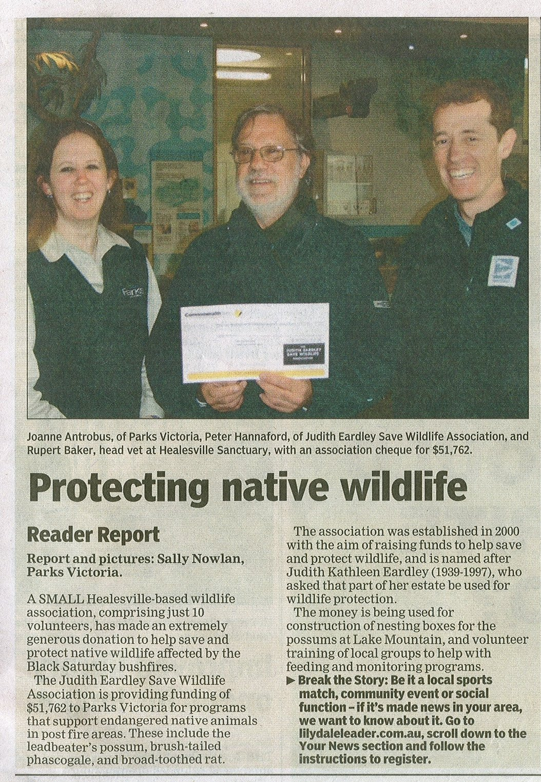 Judith Eardley Save Wildlife Association donation for Leadbeater's Possum after bushfire.