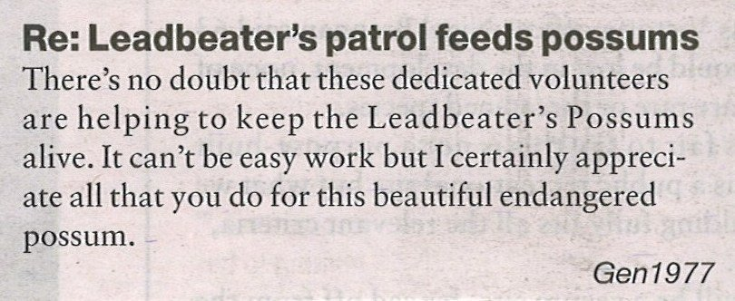 Community thanks Leadbeater's Possum volunteer supplementary feeders. Maroondah & Yarra Ranges Weekly - June 2011.